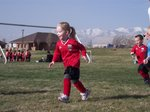 Emma in her first soccer game