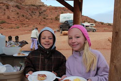 Aedin Richardson and Emma at our campsite near Temple Mountain