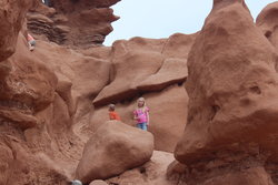 Emma and Aedin and Richardson in Goblin Valley