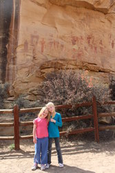 Emma and Sarah by Petroglyphs in Sego Canyon