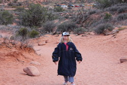 Sarah on trail to Double Arch