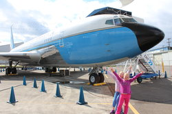 Emma and Sarah in front of the old Air Force One