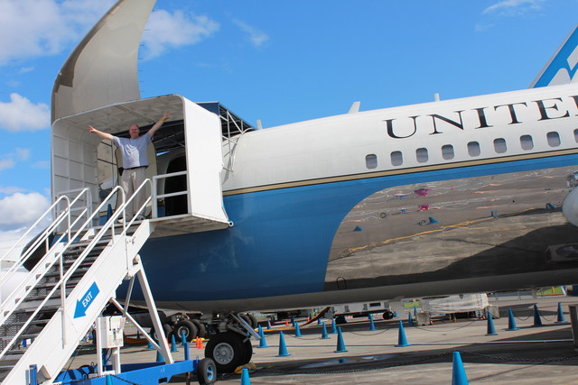 Steve with a Nixon-esque pose coming off Air Force One