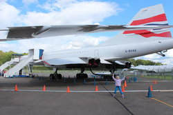 Emma in front of the Concorde
