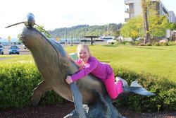 Sarah in front of the Des Moines WA marina