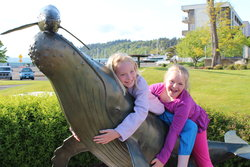 Emma and Sarah in front of the Des Moines WA marina