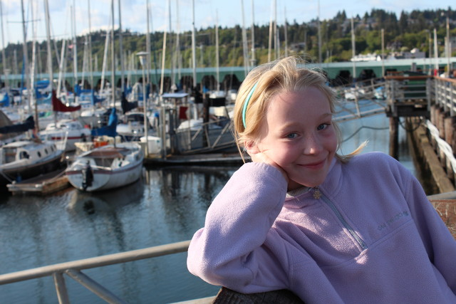 Emma in front of the Des Moines WA marina