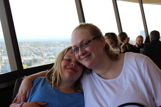 Sarah and Camille in the Space Needle Restaurant