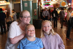 Camille, Sarah, Emma at Pike Place Market in Seattle