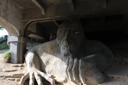 Emma and Sarah by the Fremont Troll in Seattle