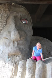 Sarah by the Fremont Troll in Seattle