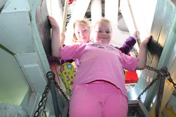 Emma and Sarah aboard USS Turner Joy