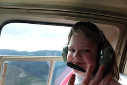 Sarah aboard helicopter in Seaside, OR