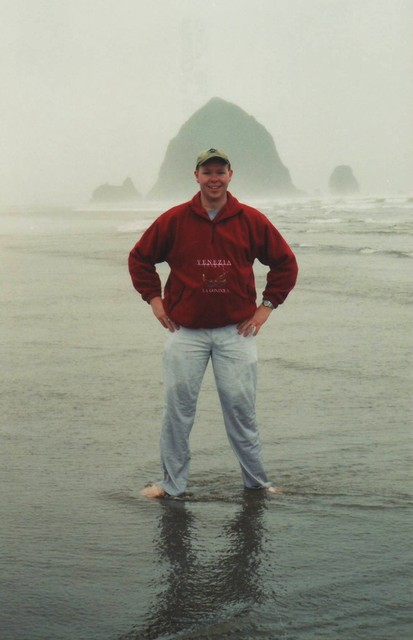 Steve at Cannon Beach with Haystack Rock in background