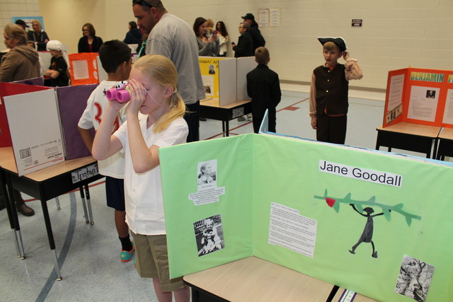"Emma as Jane Goodall for her school's ""Wax Museum"""