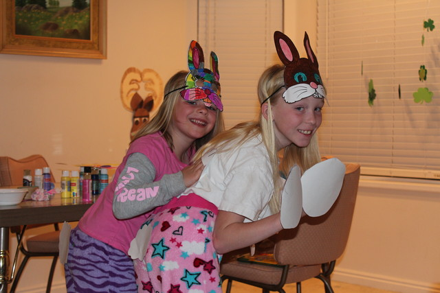 Sarah and Emma as bunnies