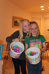 Emma and Sarah doing the Easter Egg Hunt