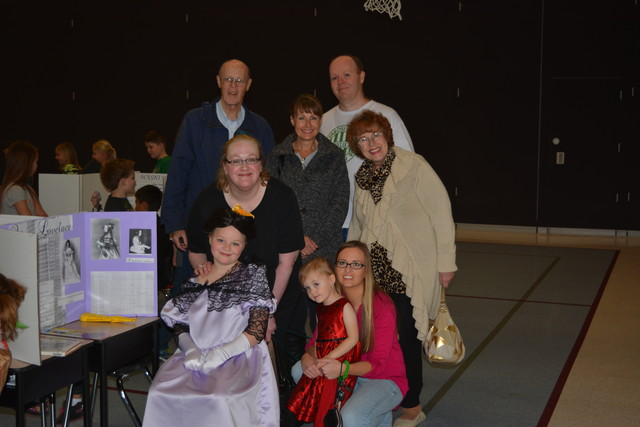 Sarah as Ada Lovelace in her Wax Museum with Tom, Camille, Steve, Jillian, Kaitlyn, Sharon Collard, and Sharon's Daughter