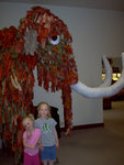 Emma and Sarah by a Mammoth at a museum
