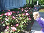 Emma stopping to smell the flowers at the Portland Temple