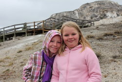Sarah and Emma at Mammoth Hot Springs
