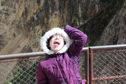 Emma catching rain on her tongue in Grand Canyon of the Yellowstone
