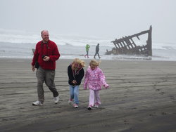 Steve, Emma, Sarah at the wreck of the Peter Iredale
