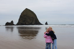 Emma and Sarah at Cannon Beach