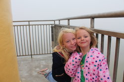 Emma and Sarah on top of the Astoria Column (in the fog)