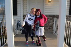 Emma as a BYU Cheerleader and Sarah as Draculaura from Monster High on Halloween