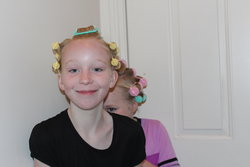 Emma and Sarah with curlers