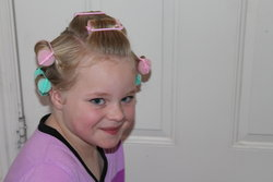 Sarah with curlers