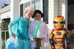 Emma, Sarah, and Alexander Jones on Halloween